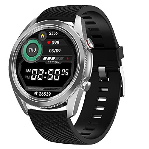 HQPCAHL Smartwatch Reloj para Hombre Android iOS con Llamada Bluetooth Monitor de Frecuencia Cardíaca Presión Arterial Spo2 Sueño Control de música, Monitores de Actividad,Plata