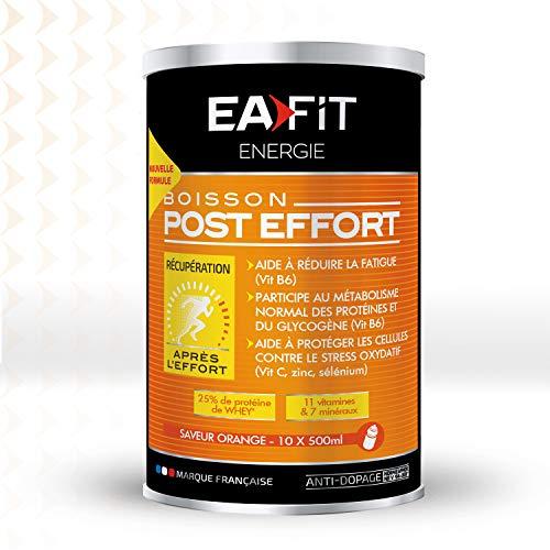 EAFIT Boisson Post-Effort - Boisson Réhydratante 457g - Saveur Orange - Anti-Oxydante - Anti-Fatigue - Riche en Protéines - 11 Vitamines & 7 Minéraux - Marque Française - Certifiée Anti-Dopage