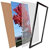 Medog 12x16 Black Picture Frame without Mat to Display Pictures 11.81x15.75 window size 11.37x15.35 Safety high transparent PC sheet NON GLASS Wall Mounting pin-hook not included, (PFVC 16' BA)