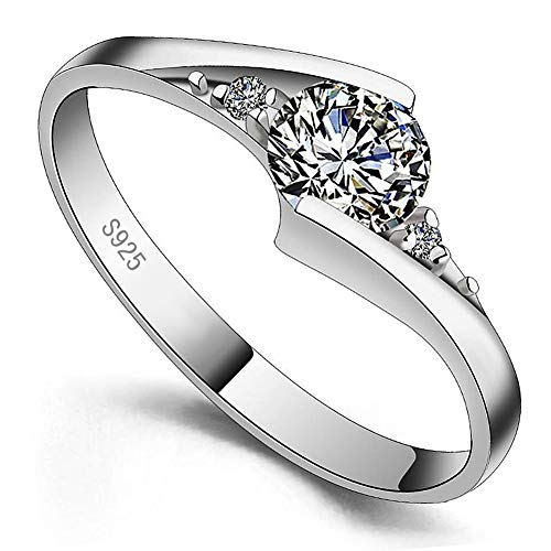 Meixao 925 Sterling Silver Simulated Diamond Cubic Zirconia Eternity Wedding Ring (K)