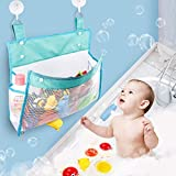 Bath Toy Organizer Mesh Bag with Suction & Sticker Hooks,Bottom Zippered Bathtub Shower Toy Organizer Multiple Ways to Hang,Bathtub Toy Holder for Holding Toys,Baby Diapers,Clothes