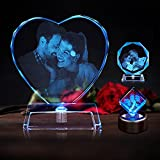 ABIsedrin Personalized Custom 3D Laser Engraved Crystal, Crystal Photo Personalized with LED Base