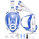 SwimStar 2020 Foldable Full Face Snorkel Mask for Women and Men, Anti Fog Dry Top Snorkeing Set, 180° Panoramic View Diving Mask with Camera Mount and Comfortable Adult Snorkeling Gear Blue
