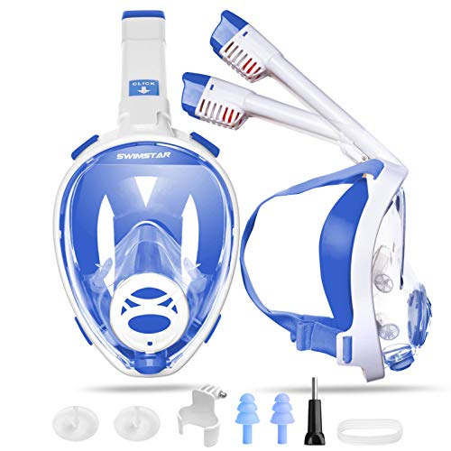 SwimStar Full Face Snorkel Mask for Women and Men, Foldable No Fog Anti Leak Adult Snorkeing Set, Clear View Diving Mask with Camera Mount and Comfortable Snorkeling Gear Safety Breathing Blue