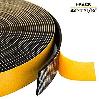 Foam Strips Adhesive - 1 Roll, 1 Inch Wide X 1/16 Inch Thick, Window Seal Door Insulation Weather Stripping Closed Cell High Density Adhesive Foam Sealing Tape, Total 33Feet
