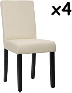 Mr Direct New Set of 4 Elegant Design Modern Fabric Upholstered Dining Chairs