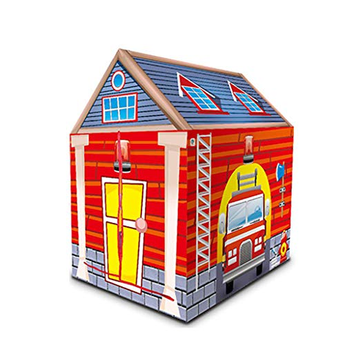 MYJZY Boys & Girls Tienda del Juego, Ndoor Y Niños Al Aire Libre Playhouse, Portátiles para Niños Juguete De La Casa con La Casa/Zoo/Patio/Patrón De Caramelo Estación De Bomberos,Naranja