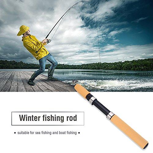 OKBY Caña de Pescar-Hielo Caña de Pescar de Invierno Caña de Pescar retráctil de Fibra de Carbono Mini Aparejos