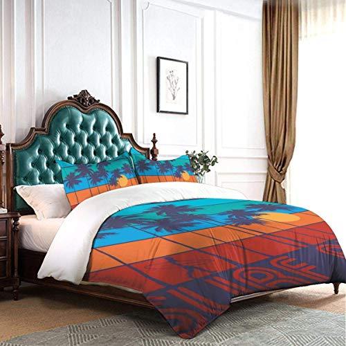 Juego de Funda nórdica con Tema de Surf con Texto California Surf Rider Diseño Vintage Sunset Trees Hotel de Dormitorio Decorativo de Lujo Juego de Cama de 3 Piezas con 2 Fundas de Almohada C2040