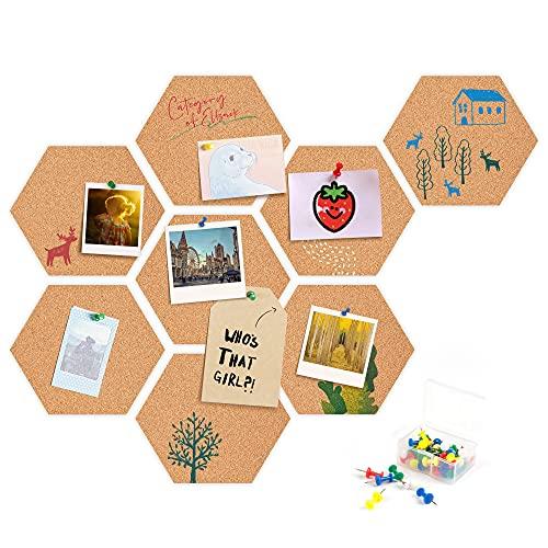 Ventvinal Tablón de anuncios de corcho, 8 unidades, hexagonal, de corcho autoadhesivo, con 40 pines push-pins, se utiliza para colgar fotos, decoración del hogar y la oficina
