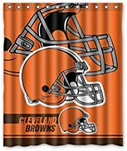 Custom NFL Cleveland Browns Waterproof Bathroom Shower Curtain Polyester Fabric Shower Curtain Size 66 X 72