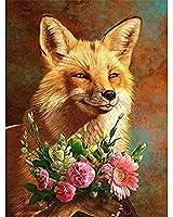 DIY 5Dダイヤモンド塗装キット、フルダイヤモンドラウンドラインストーン刺繡(番号でペイント)家の壁の装飾、かわいい赤狐30x40cm