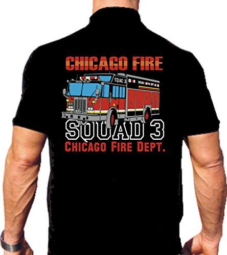 feuer1 Polo Black Chicago Fire Dept. Squad 3 Multicolore