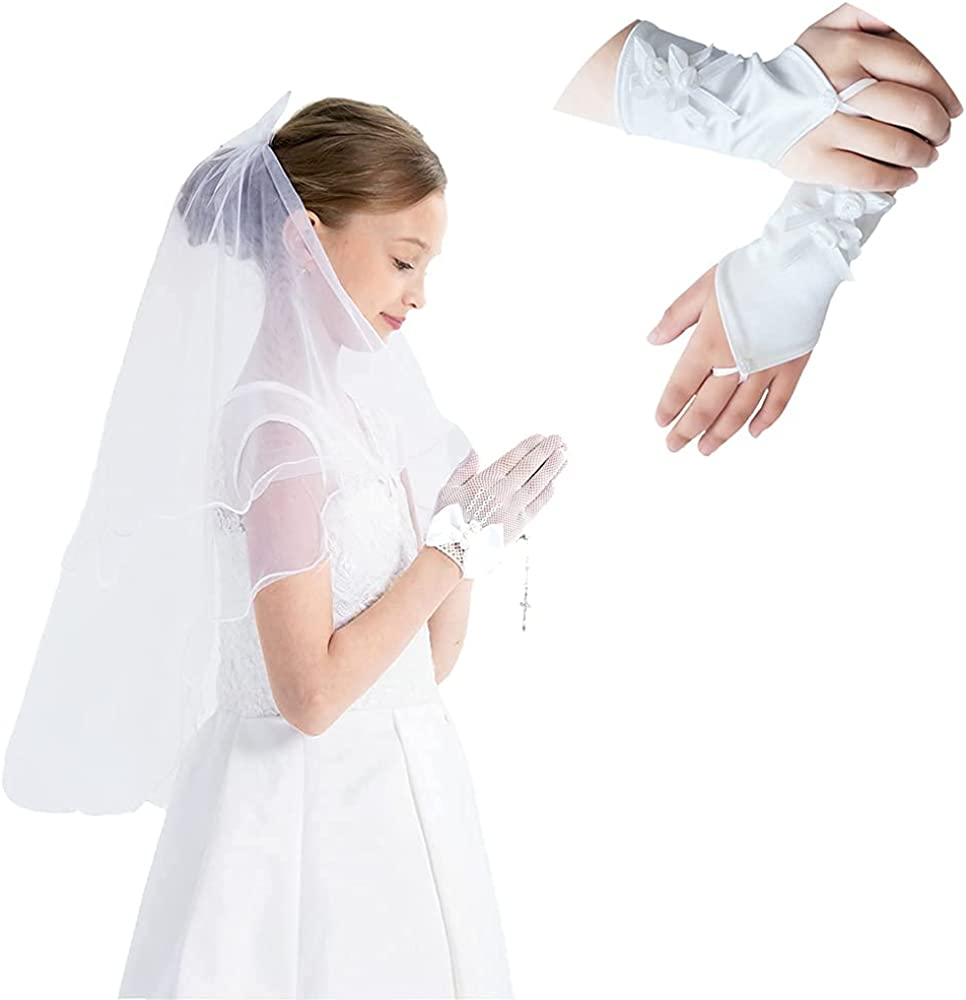 Girls First Communion Veil with Bow & Floral Satin White Lace Gloves Set