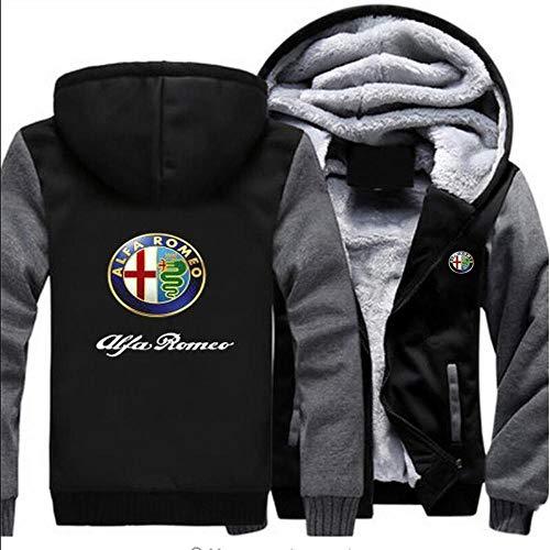 Herren Pullover Jacken New Alfa Romeo Druck Beiläufige Winter-mit Kapuze Baseball Uniformen-Warm Zip Kapuze Langarm-Sweatshirt-Teen-Geschenk Grey-M