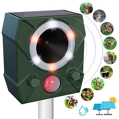 ulocool Katzenschreck Ultraschall, Tierschreck Solar mit Blitzlicht, Tiervertreiber mit 5 Modus gegen Marder, Katzen, Vögel, Tauben, Hunde, wasserdicht Tierabwehr für Garten, Rasen, Bauernhof