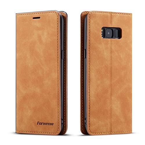 QLTYPRI Hülle für Samsung Galaxy S8, Premium Dünne Ledertasche Handyhülle mit Kartenfach Ständer Flip Schutzhülle Kompatibel mit Samsung Galaxy S8 - Braun
