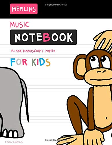 Merlins Music Notebook for Kids - Wide Staff Manuscript Paper: Children's Blank Sheet Music Manuscript Paper Notebook For Young Musician