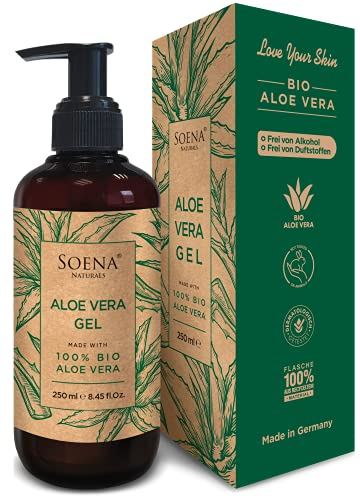 Aloe Vera Gel mit 100% BIO ALOE VERA | Frei von Alkohol & Parfüm | NATURKOSMETIK | Tierversuchsfrei | Feuchtigkeitspflege von SoenaNaturals | After Sun - 250ml - Made in...