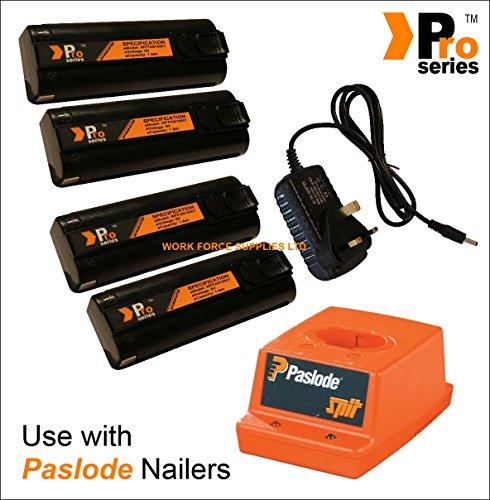 4 X batterie de rechange 6 V 1,5 Ah (Pro Series) pour Paslode Nailers + Base Paslode chargeur + Chargeur mural