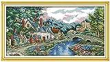 LLXJLUCKY Juego de punto de cruz para principiantes, 11 hilos, bordado de punto de cruz, madera, lago, choza, artesanía, accesorios de costura, regalo para decoración del hogar, 16 x 20 cm