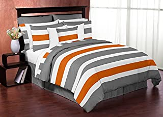 Sweet Jojo Designs 3-Piece Gray, Orange and White Childrens, Teen Full/Queen Boys Stripe Bedding Set Collection