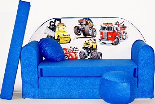 Pro Cosmo C14 Kinder Schlafsofa mit Pouff/Fußhocker/Kissen, Coton, blau, 168 x 98 x 60 cm