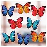 8 Decoraciones Grandes de Pegatinas de Ventana de Mariposa - Hermosas calcomanías Adhesivas estáticas de Doble Cara - Pegatinas anticolisión de Impacto