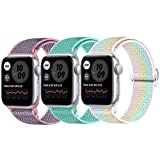 JUCC 3 Pack Correas Compatible con Apple Watch 44mm 42mm 38mm 40mm,Pulseras de repuesto de Nylon Correa para iWatch Series SE 6 5 4 3 2 1,Mujer y Hombre(38mm/40mm,Rosa Sand/Verde océano/Vistoso)