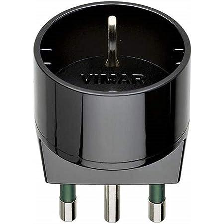 VIMAR RI.00303N Adattatore SICURY 250 V,spina 2P+T 16 A (grande) standard italiano tipo S17, presa 2P+T 16 A standard italiano tipo P30, nero