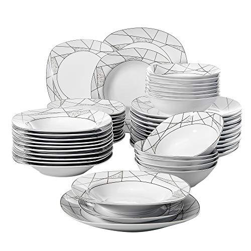VEWEET Serena Juegos de 48 Piezas Vajillas de Porcelana con 12 Cuencos de Cereales, 12 Platos, 12 Platos de Postre y 12 Platos Hondos para 12 Personas