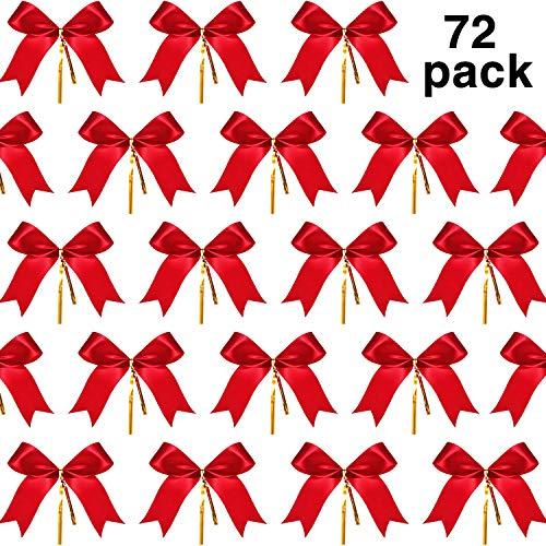 Sumind 72 Stück Weihnachtsbogen Red Ribbon Bow Schwalbenschwanz Bowknot mit Goldenen Krawatten für Weihnachtsbaum, Weihnachtskranz, Geschenk Dekoration
