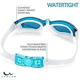 Schwimmbrillen für Erwachsene Kinder - Anti Nebel UV, Schutz kein Leck, Spiegel/Clear Lens, Ohrstöpsel & Nasenklammern mitgeliefert, für Männer Frauen Mädchen Jungen,hellblau - 4