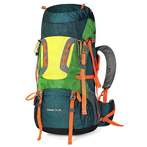 ISIYINER 70L + 10L zaino da Trekking Unisex per Outdoor Sports Campeggio Impermeabile Viaggi Escursioni Verde