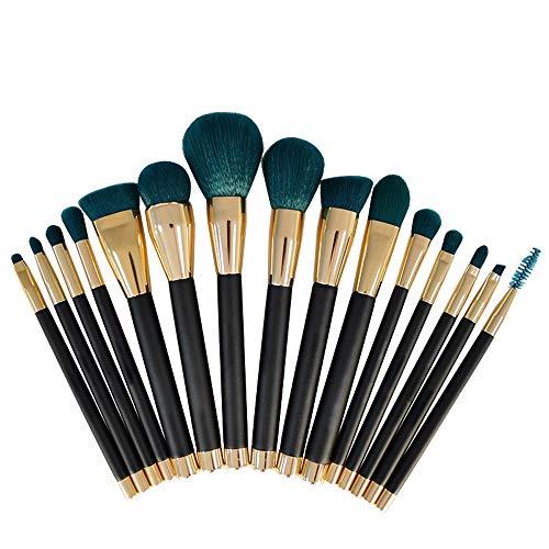 Brosses 15 PCS Premium Synthétique Kabuki Pinceau De Maquillage Ensemble Cosmétiques Fondation Mélange Blush Eyeliner Visage Poudre Brosse Maquillage pour Les Femmes (Color : Vert, Size : Libre)