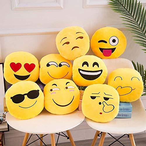 Homieco Emoji Gevulde Pluche Kussen Speelgoed Zachte Touch Hug Emotion Geel Rond Groot Kussen 19,6