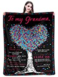Personalized Blanket to My Grandma Gift from Granddaughter Super Soft Warm Fuzzy for Bed Couch Chair Throw Blanket for Birthday Mothers Day Anniversary (50x40 Inch, Love Tree)