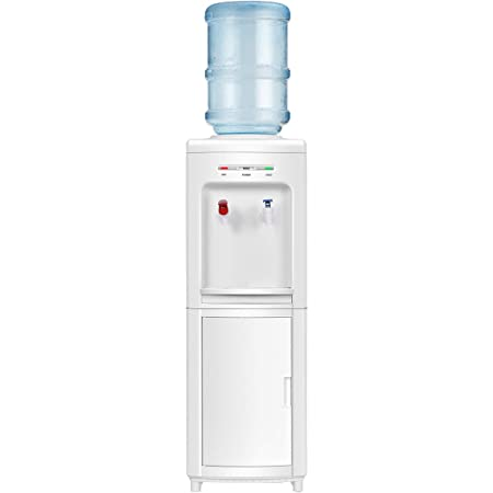 COSTWAY Water Cooler Dispenser for 3-5 Gallon Bottle, Top Loading Hot and Cold Water Dispenser with Storage Cabinet, Child Lock, Water Cooler with Compression Refrigeration Technology, White