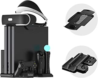 ElecGear PS4 Vertical Cooling Stand with Charger, PSVR Headset Support, Controller Charging Docking Station, 2x Fan Coole...
