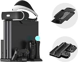 Charger & Vertical Display Stand - Multi Charging Station, Cooling Fan Cooler, PSVR Glasses Holder Bracket for PlayStation PS VR Headset, PS4, Pro, Slim Console, DualShock 4 & Move Motion Controller