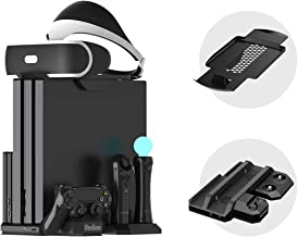 Charger & Vertical Display Stand - Multi Charging Station, Cooling Fan Cooler, PSVR Glasses Holder Bracket for Playstation PS VR Headset, PS4, Pro, Slim Console, DualShock 4 & Move Motion Controller