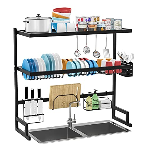 KEEGO Over the Sink Dish Drying Rack Stainless Steel Display, 3 Tier Kitchen Dish Rack Over Sink for Double Sink, Black Dish Drying Rack Over The Sink Rust Proof, Over the Sink Shelf Storage Counter Organizer for Home Kitchen Counter