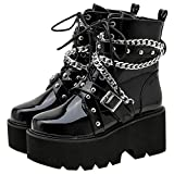 Parisuit Womens Goth Patent Ankle Boots Platform Chunky High Heel Lace Up Combat Boots Punk Buckle Chain Booties-black size 8