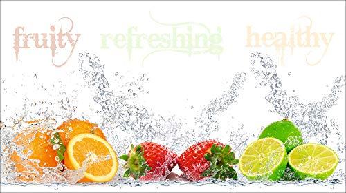 Artland Design Spritzschutz Küche I Alu Küchenrückwand Herd BxH: 90x50 cm sehr schnelle und einfache Montage Fruchtig - erfrischend - gesund - Zitronen Kirschen Erdbeeren Limetten