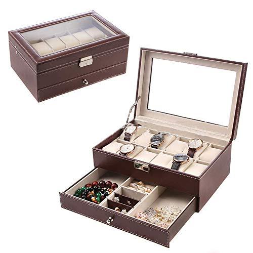 Organizador de Caja de Reloj de 12 Ranuras, Vitrina de Relojes, Organizador de Almacenamiento de Joyas, Cuero de PU, para Mujeres y Hombres, marrón