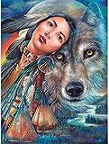 Rompecabezas de madera para adultos 1000 piezas, lobo nativo americano, rompecabezas de Tangram para niños, juego creativo de ocio, rompecabezas de juguete