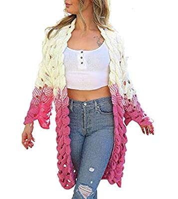 Moiré Women's Ombre Pink Long Cardigan Soft Outwear Sweater One Size Fits All from