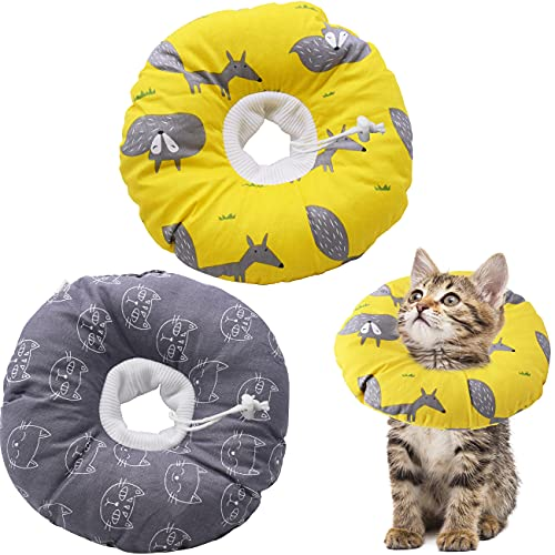 2 Piezas Collar Protector Ajustable Collares Protectores Protección Suave para Gatos Perros Comodo Mascotas Collar Isabelino Recuperación Cuello Protector Heridas Evita Lame Tocando Arañazos