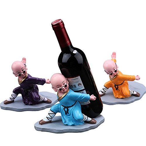LL-COEUR 3pcs Monje de Gafas de Sol Soporte Botella de Vino Decorativo Botellero Vino Original Artesanía 200 x 120 x 160 mm