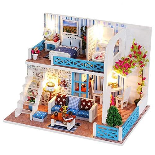 CHEJHUA -BAU Modellbau Bausätze Puppenstuben Spielzeug 10 Arten DIY Puppenhaus mit Möbeln Kinder Erwachsene Miniatur-Holzpuppenhaus DIY (Color : White)